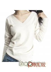 White Long Sleeved Womens Classic Office Blouse Soft Cashmere sweater