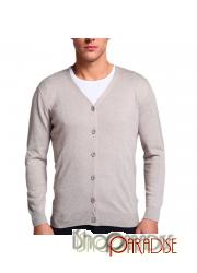 Beige long sleeve slim cut fitted soft comfy button Cashmere Cardigan