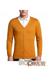 Yellow slim cut fitted office jumper unisex formal soft Cashmere Cardigan