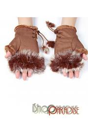 Brown Ladies Japan Womens NEW Must Have Faux Fur Fingerless Gloves