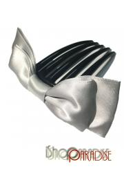 Grey Slide Party Prom Grip Accessories Festival Satin Bow Hair Comb