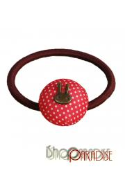 Red Metal Japan Casual Ladies Elastic Rabbit Polka Dot Ponytail Holder