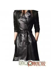 Hippie Winter Womens Buckled Celebrity Fitted Leather Trench Coat