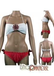Red Beach Clothing Padded Push Up Bandeau Bikini Set Top and Bottom