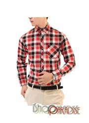 Red And White Cotton Blends Plaid Vintage Check Shirt Unisex Top Womens Blouse