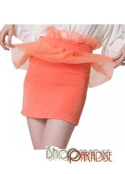Melon Red Zip Bodyon Orange Ladies Womens Glamour Fitted Vintage Prom Skirt