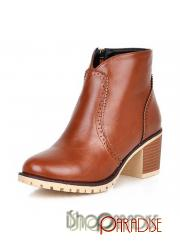 Camel summer Womens chunky vintage casual rounded toe faux leather Boots