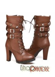 Brown zip lace up ankle army winter stylish booties Boots