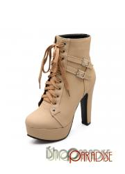 Beige Womens military vintage buckle lace up casual winter Boots