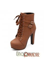 Brown shoes high heels punk ankle round toe booties lace up Boots