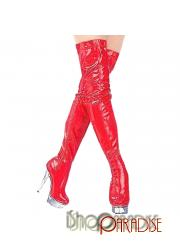 clubbing Red ladies party Womens patent mens over knee prom Boots
