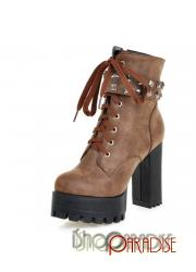 Brown army booties plus size buckle shoes ladies lace up ankle Boots