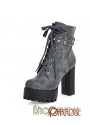 Grey ladies military Womens booties lace up chunky ankle Boots