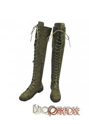 Green long lace up cuban heel slimming round toe over knee army Boots