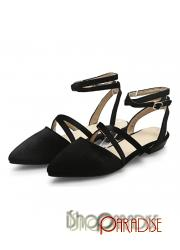 Black elegant Womens cuban heel trendy ladies faux suede sandals Flats