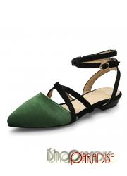 Green ladies plus size party pointed toe trendy prom cap toe Flats