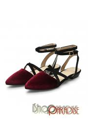 Red trendy cuban heel celebrity casual pointed toe ladies velvet Flats