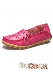 Hotpink Hollow calf leather trendy chunky lace Boat Shoes ballet laser cut Flats