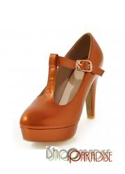 Orange ladies platform mary jane court shoes evening buckles High Heels