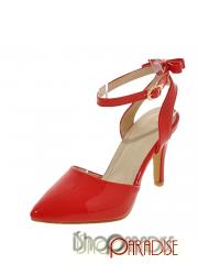 Red girls ankle strap cap toe stiletto heel bridesmaid party Shoes