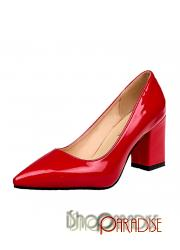 Red party pumps mid heel ladies court wedding NEW Shoes