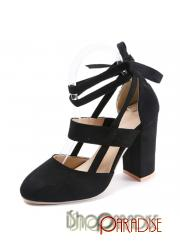 Black sexy strappy ankle strap prom elegant vintage cap toe Womens Pumps