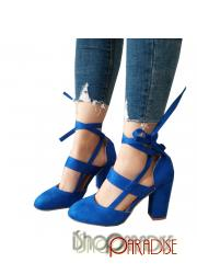 Blue elegant strappy shoes block heel prom winter Womens Pumps