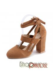 Brown sandals evening ladies winter sexy strappy party cap toe Pumps