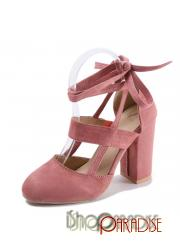 Pink prom winter Womens vintage strappy ladies faux suede Pumps