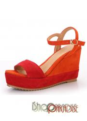 Red Cute Japan Trendy Two Tone Platforms Wedges Sandals Shoes 34-39