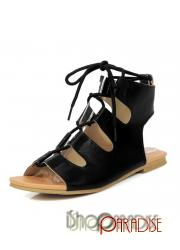 Black boots casual ladies vintage Gladiator summer roman Sandals