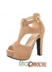 Beige clubwear Womens high heels stiletto heel ankle strap party Sandals