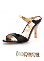Black stiletto heel mid heeled girls high heels golden strap Sandals