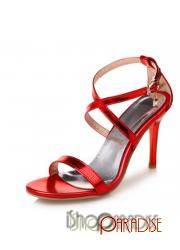 Red plus size party strappy ladies stiletto heel buckle girls Sandals