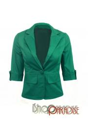 Green Casual Jacket Ladies Fitted Cardigan sweater Boyfriend Blazer