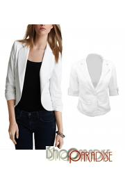 White Fitted Japan VTG Korea NEW Cropped Boy Friend Blazer Jacket Top
