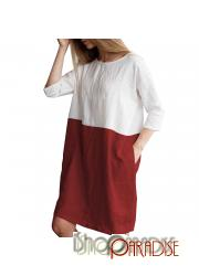 Red vintage stylish loose 1/2 sleeve summer one piece new simple Dress