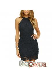 Black prom bodycon cold shoulder ladies Womens halter party Dress