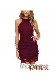Maroon evening zip Womens clubwear crochet bodycon Dress