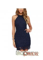 Navy young clubbing clubwear party cold shoulder neck prom wiggle Dress