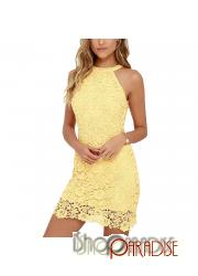 Yellow evening crochet sexy lace young Womens halter cold shoulder Dress