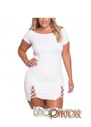 White plus size cut out short sleeve vintage sexy elegant ladies Dress