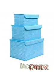 Blue Polka Dot Toy Unit Water Proof Boxes Bras Clothes Gift Solution Storage Box