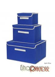 cube Dark Blue canvas drawers toys retro collapsible bags tidy Box