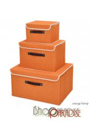 Orange Hemp canvas set of 3 retro fabric drawers large collapsible garden Box