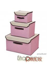 Pink Polka Dot folding cube toys with lid home decor containers bags Boxes Box